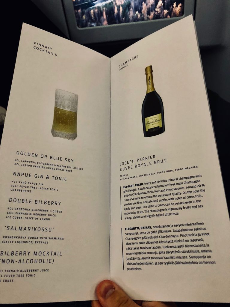 Finnair Business Class A330 menu