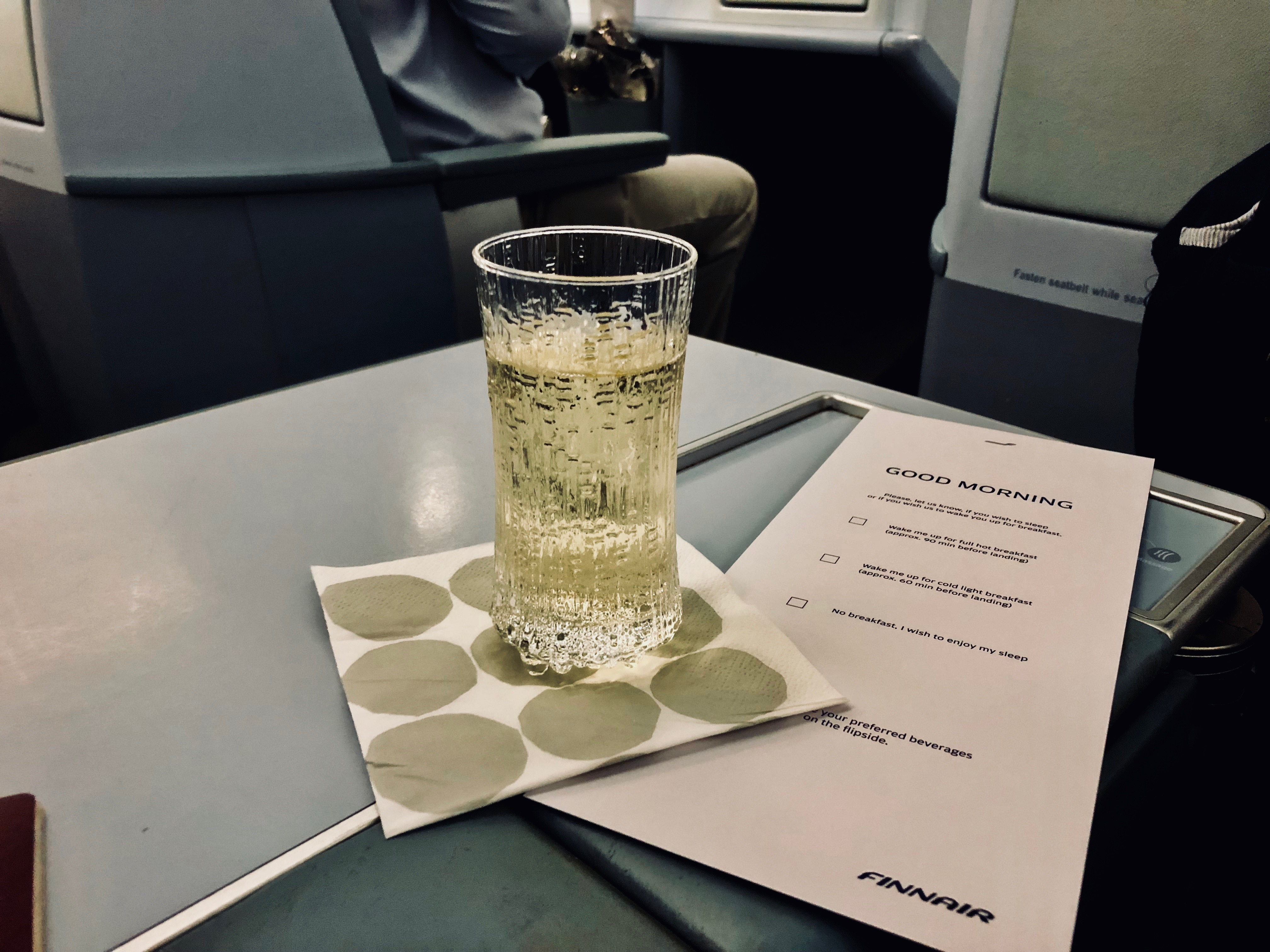 Finnair Business Class A330 Welcome drink