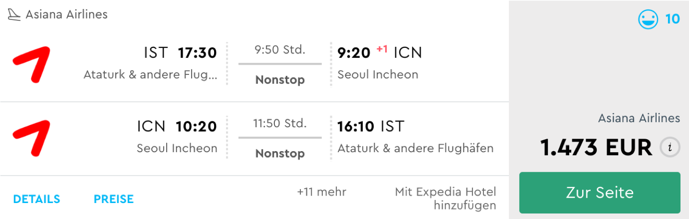 Günstige Asiana Airlines Business Class Flüge nach Seoul