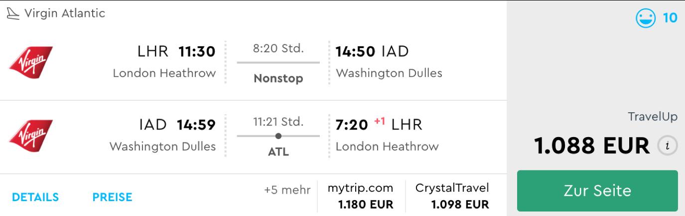 Virgin Atlantic Business Class Deals in die USA