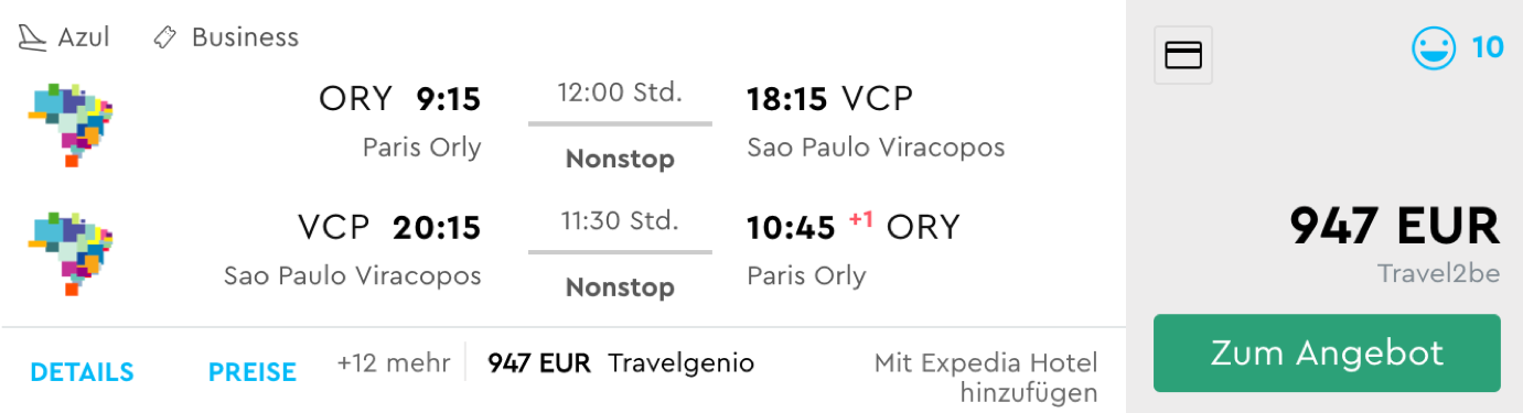 Günstige Business Class Flüge nach Südamerika