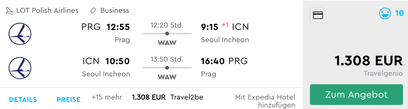 Günstig LOT Business Class nach Seoul fliegen