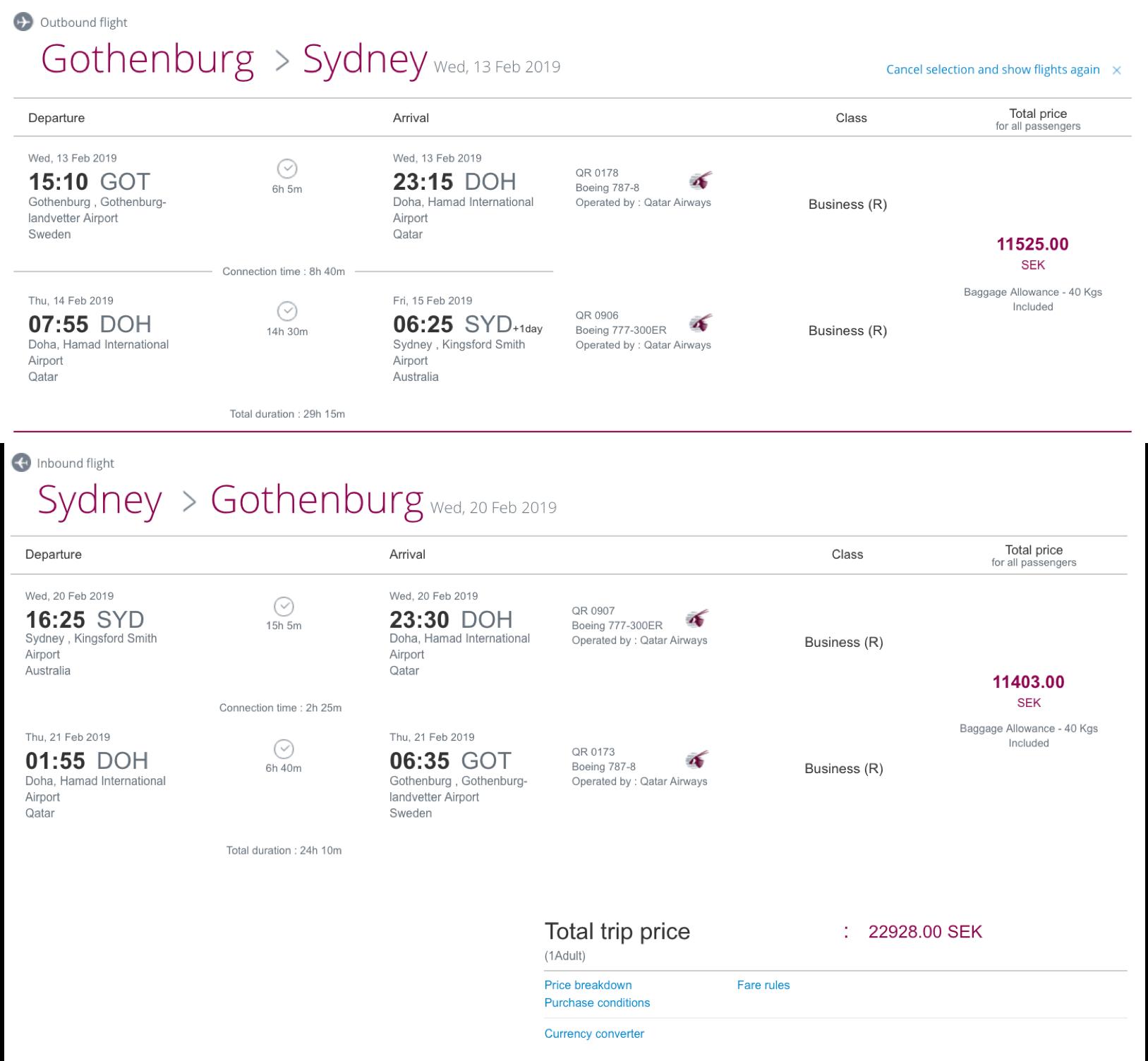 Qatar Airways QSuites nach Australien fliegen