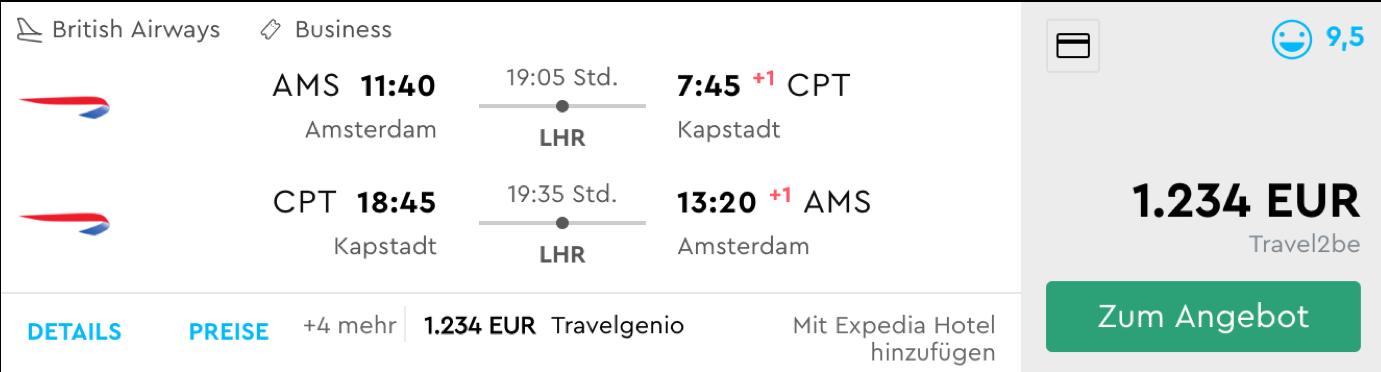 Günstige Business Class Flüge nach Südafrika
