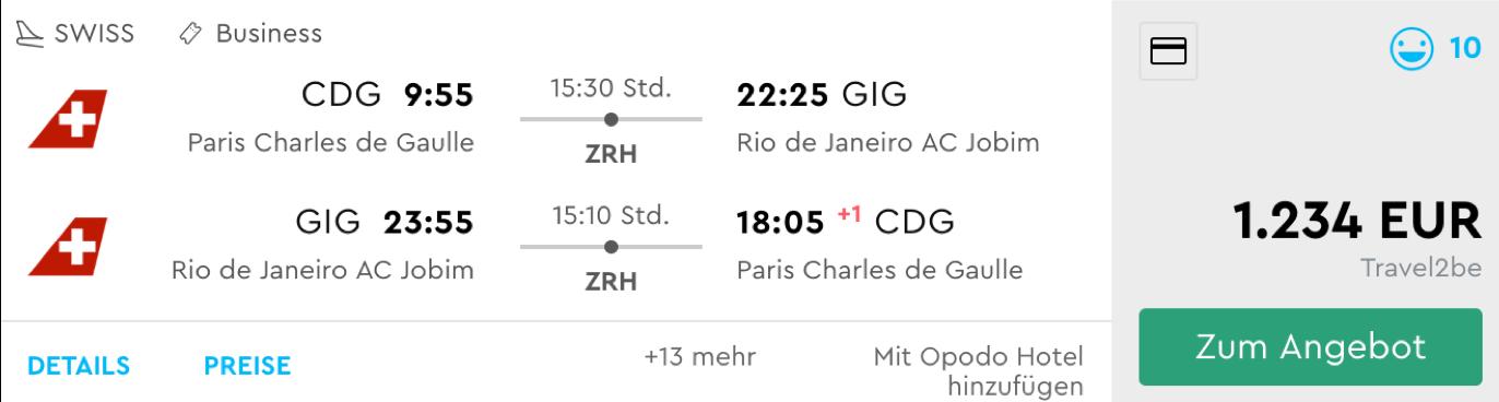 Günstige business Class Flüge nach Rio de Janeiro