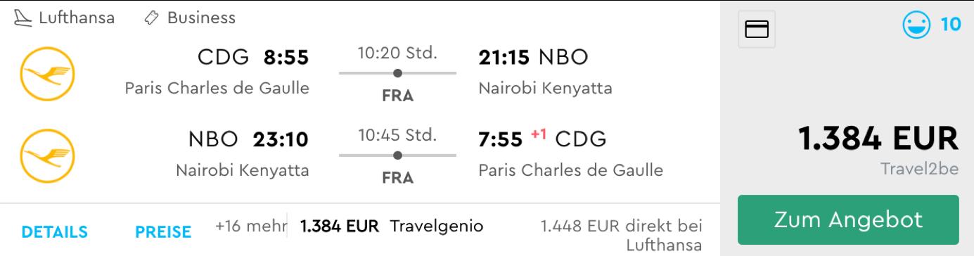 Günstige Lufthansa Business Class Flüge nach NAirobi