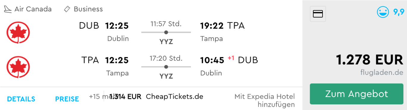 Günstige Business Class Deals nach Florida