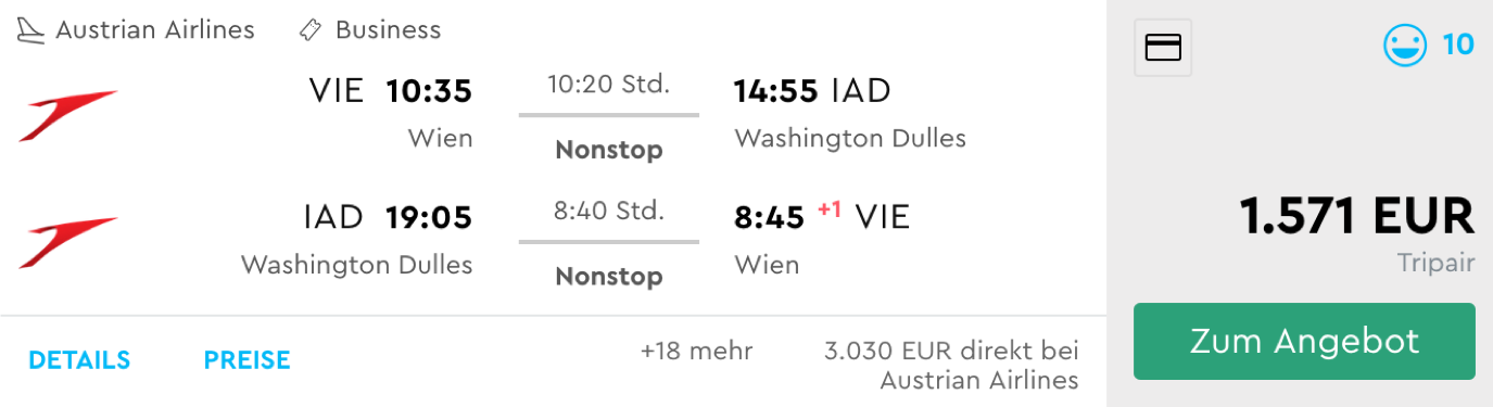 Austrian Airlines Business Class Flüge nach Washington