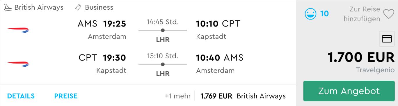 British Airways Business Class nach Kapstadt fliegen