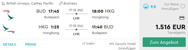 Cathay Pacific Business Class Angebote nach Hongkong