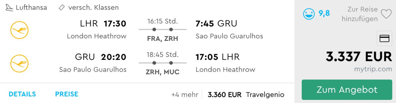 Günstig First Class nach Sao Paulo fliegen