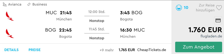 Business Class Flüge nach Bogota