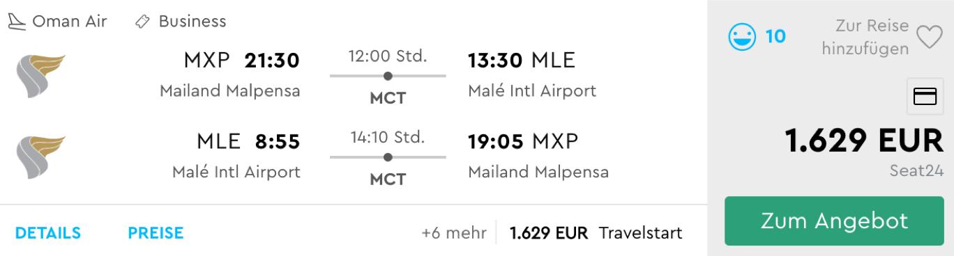 Business Class Flüge auf die Malediven