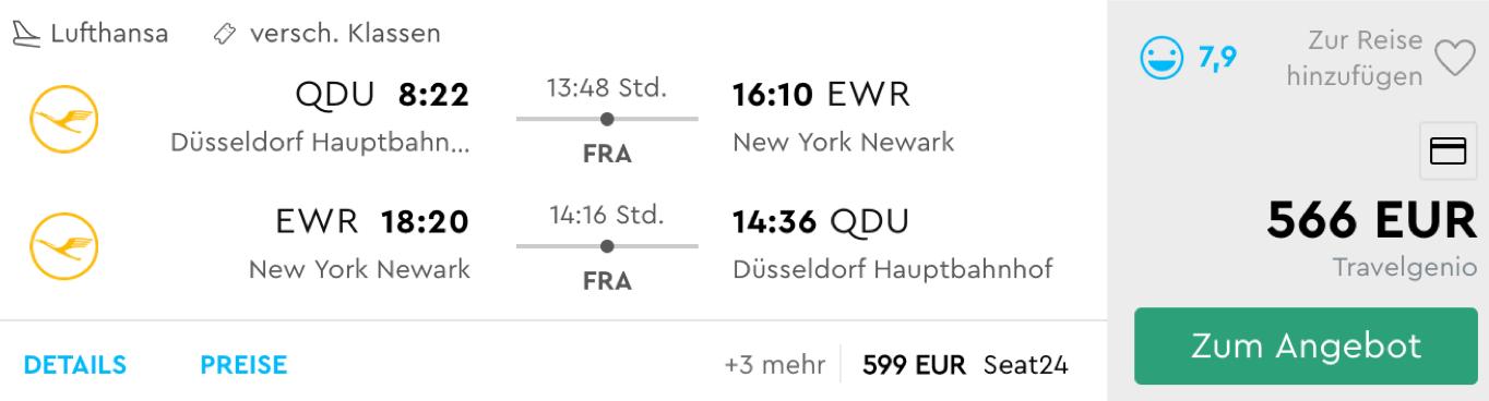 Günstig Lufthansa Premium Economy Class nach New York fliegen
