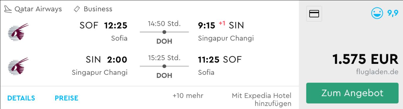 Qatar Airways Business Class Flüge nach Singapur
