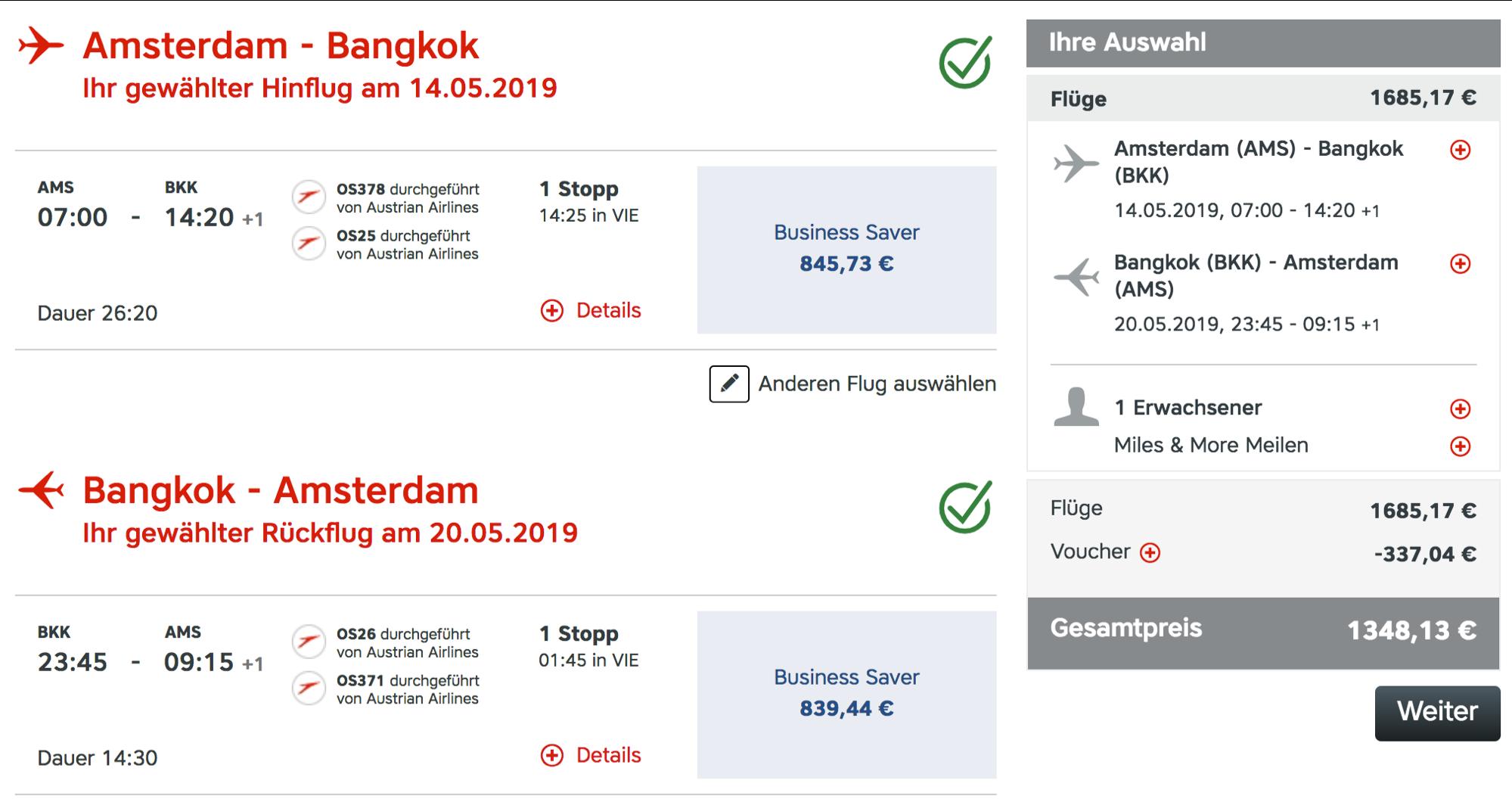 Günstig Austrian Airlines Business Class nach Bangkok fliegen
