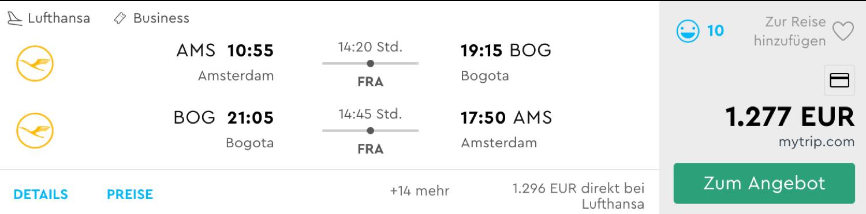 Günstige Lufthansa Flüge nach Bogota