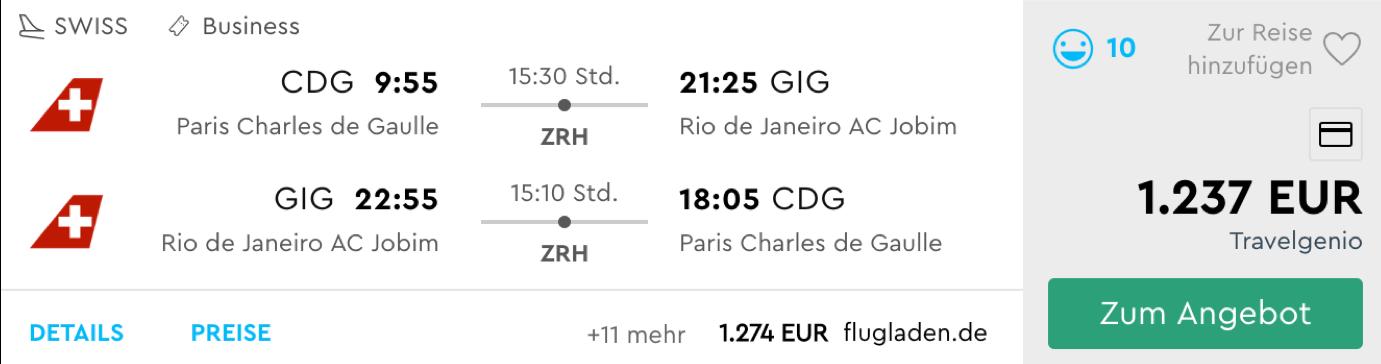 Business Class Angebote nach Südamerika