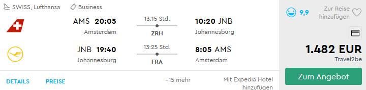 Günstige Lufthansa Business Class Flüge nach Johannesburg