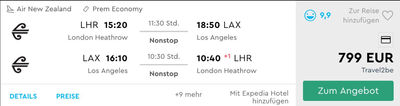 Air New Zealand Premium Economy Class Flüge nach Los Angeles