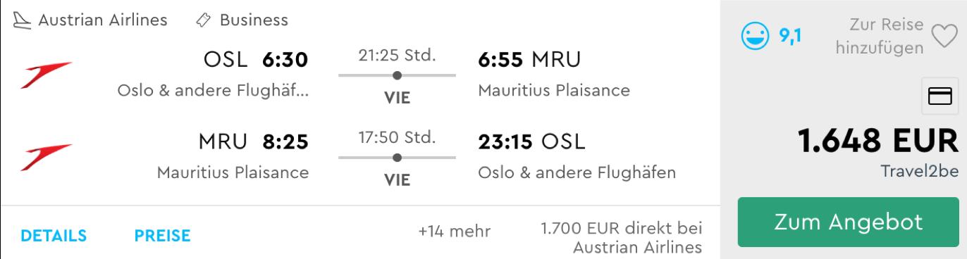Austrian Airlines Business Class nach Mauritius fliegen
