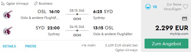Qatar Airways QSuite nach Australien fliegen