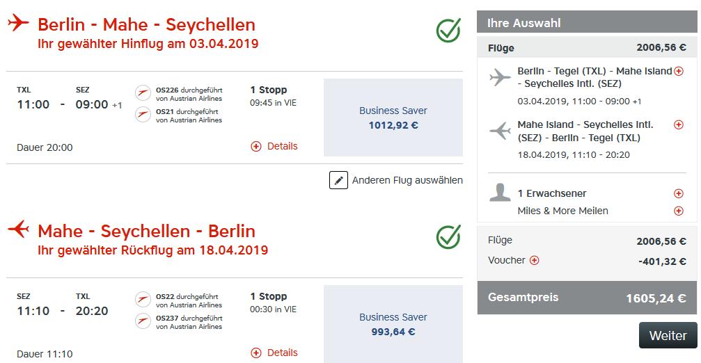 Günstige Business Class Flüge auf die Seychellen