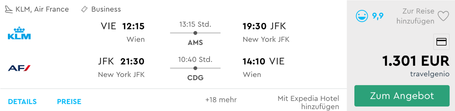 Günstig Business Class nach New York fliegen