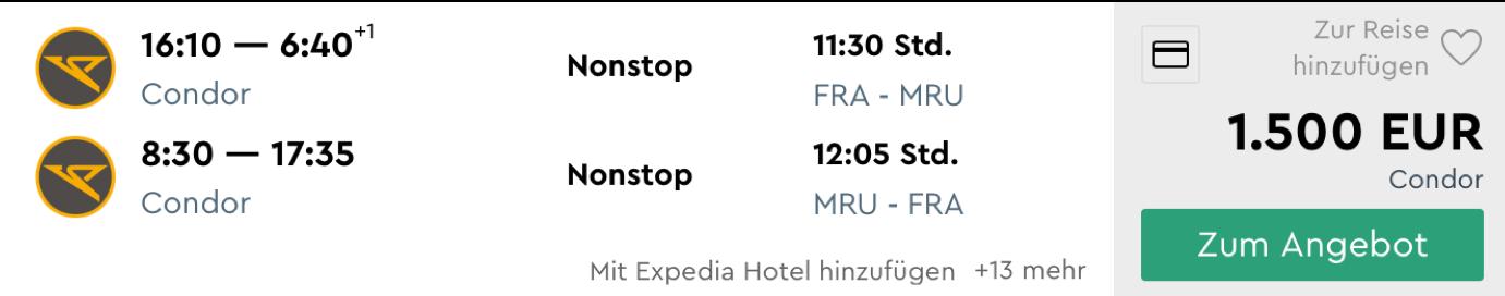 Günstig Business Class nach Mauritius fliegen