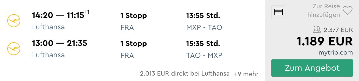 Günstige Lufthansa Business Class Angebote nach China