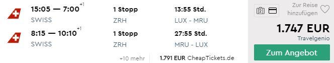Business Class Flüge nach Mauritius