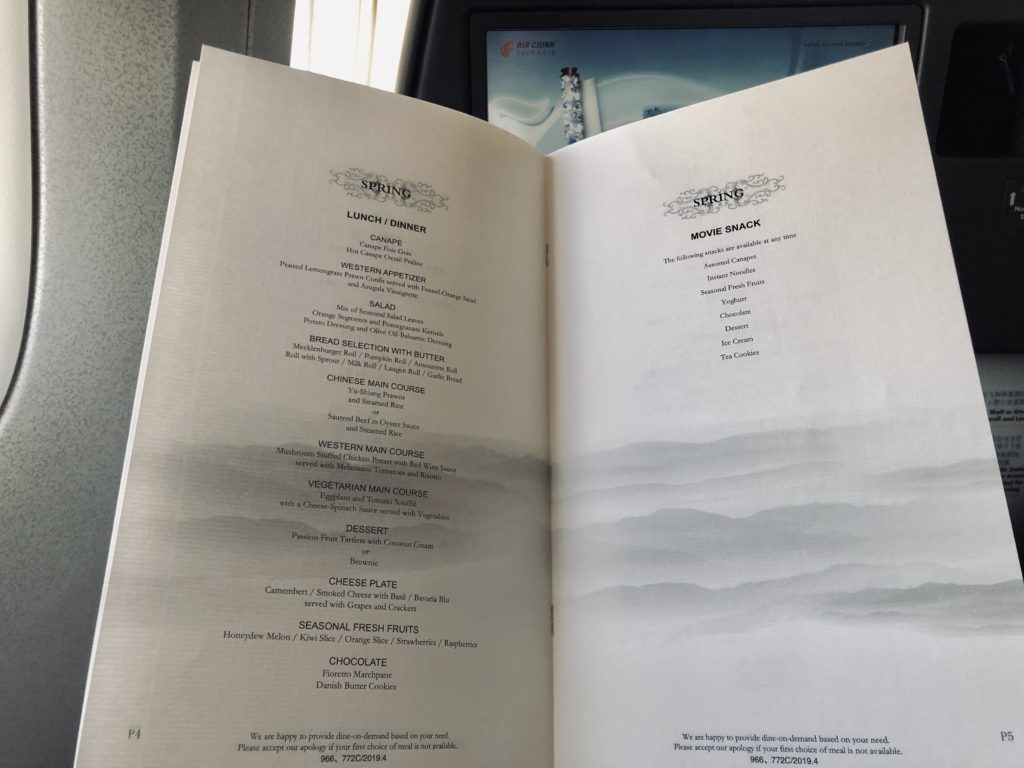 Air China Business Class Review Boeing 777 Menü