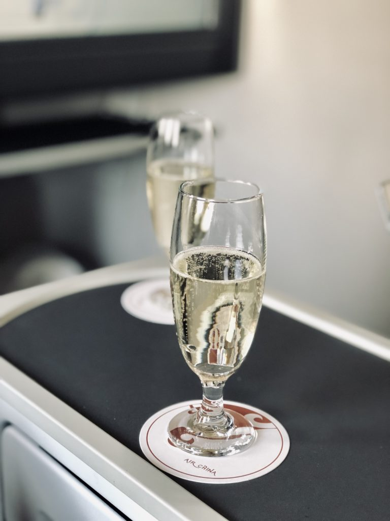 Air China Business Class Review Boeing 777 Welcome Drink