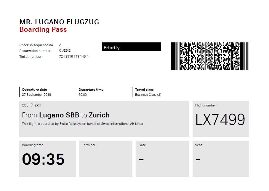 Swiss Führt Flugzug Zwischen Lugano Und Zürich Ein
